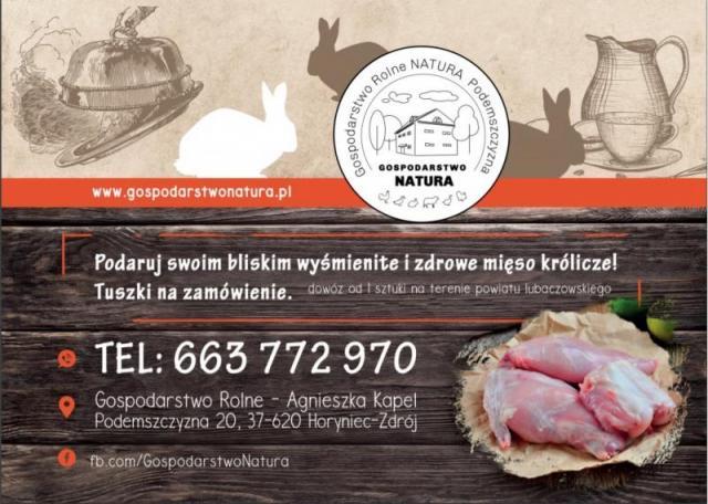 tuszki z królika, świeże mięso z królika